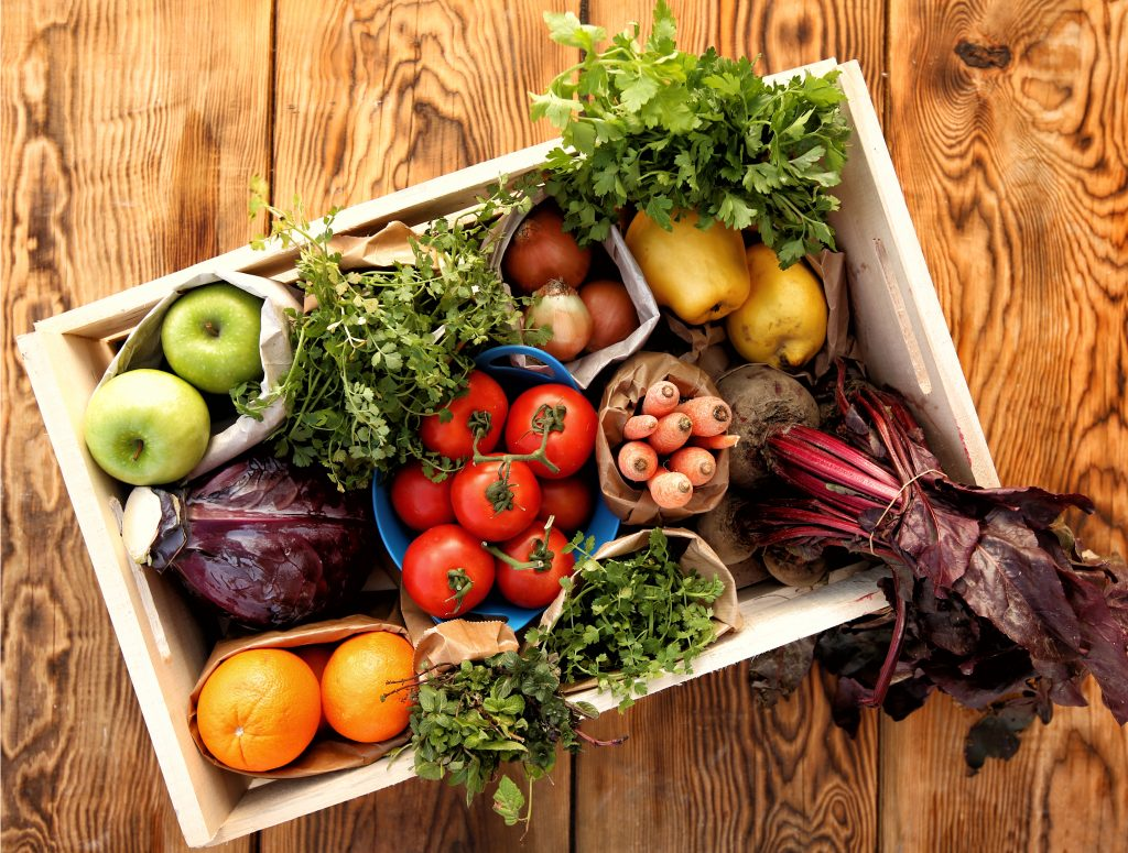 Fruits And Vegetables in wooden box